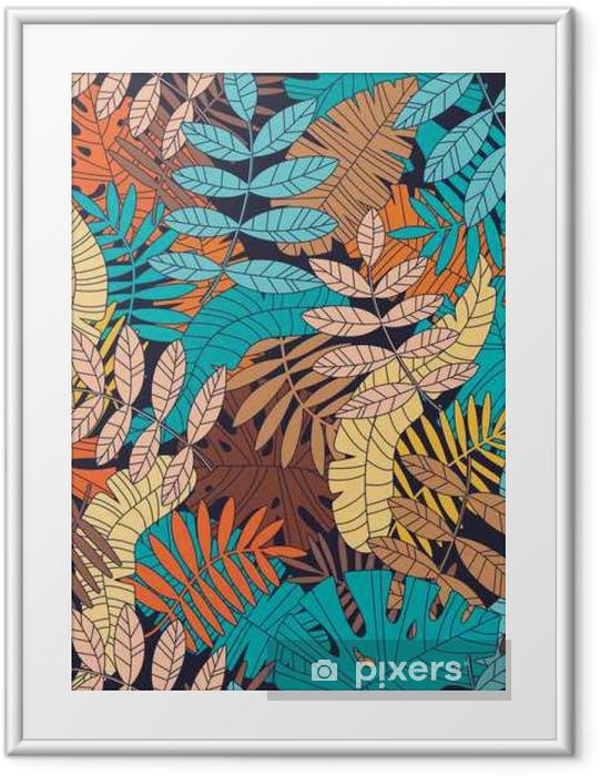 Plakat w ramie Bezszwowe wektora deseniu z tropikalnych ro? Lin i li? Ci palmowych - Rośliny i kwiaty