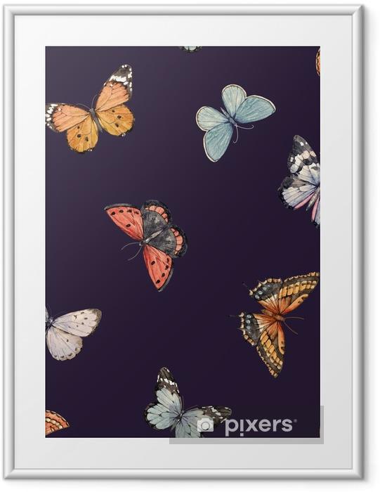 Plakat w ramie Akwarela motyl wzór - Zwierzęta