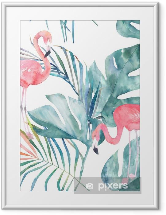 Plakat w ramie Tropikalny wzór z flamingo i liści. druk lato akwarela. egzotyczna ręka rysująca ilustracja - Zwierzęta