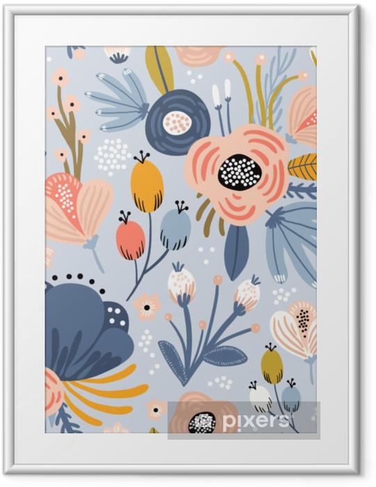 Plakat w ramie Wzór z kwiatami, gałązki palmowej, liści. twórczy kwiatowy tekstury. doskonale nadaje się do tkaniny, ilustracji wektorowych włókienniczych - Zasoby graficzne