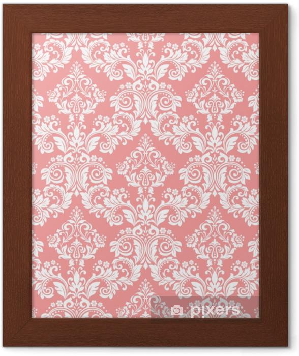 Obrazek w ramie Tapeta w stylu barokowym. bezszwowe tło wektor. biały i różowy kwiatowy ornament. graficzny wzór tkaniny, tapety, opakowania. ozdobny kwiat adamaszku - Zasoby graficzne