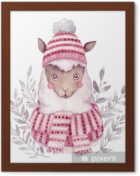 Ingelijste Afbeelding Aquarel vector alpaca illustratie. Kerst aquarel animal.cute kinderen illustratie, perfect voor begroeting of postkaarten, prints op t-shirts, telefoon gevallen, boek en andere. hand getrokken baby dier - Dieren