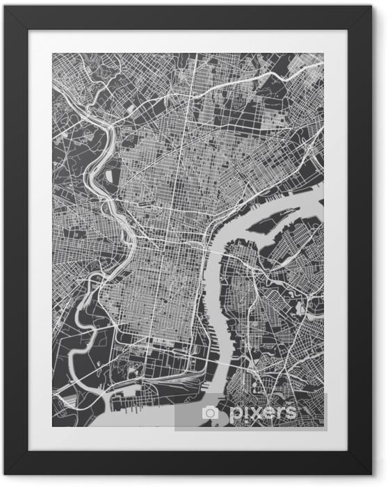 Obrazek w ramie Plan miasta philadelphia, szczegółowe mapy wektorowe - Podróże