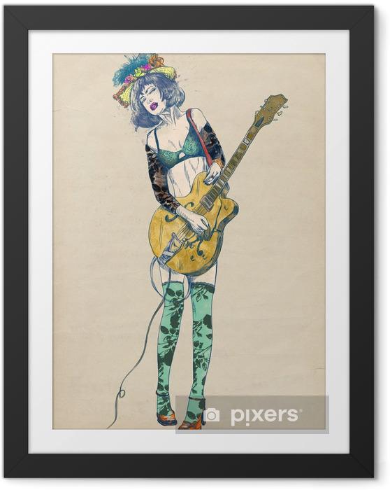 Lámina Enmarcada Guitarrista - belleza emocionante. - Jazz