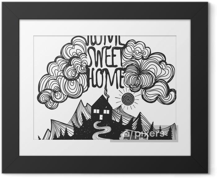 Image encadrée Vector affiche inspirée avec des montagnes, maison, voiture et devis - Paysages