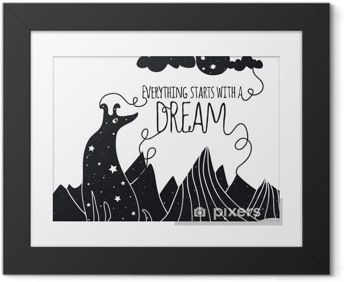Image encadrée Mignon, vecteur, Illustration romantique avec chien regardant la lune. Tout commence par un rêve. Étoiles, les montagnes et les nuages. - Animaux