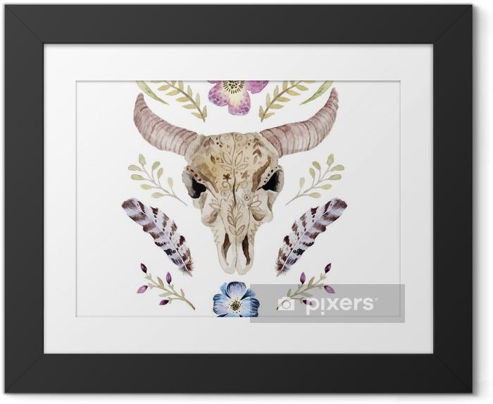 Obrazek w ramie Akwarele ilustracji wektorowych boho z czaszką - Zasoby graficzne