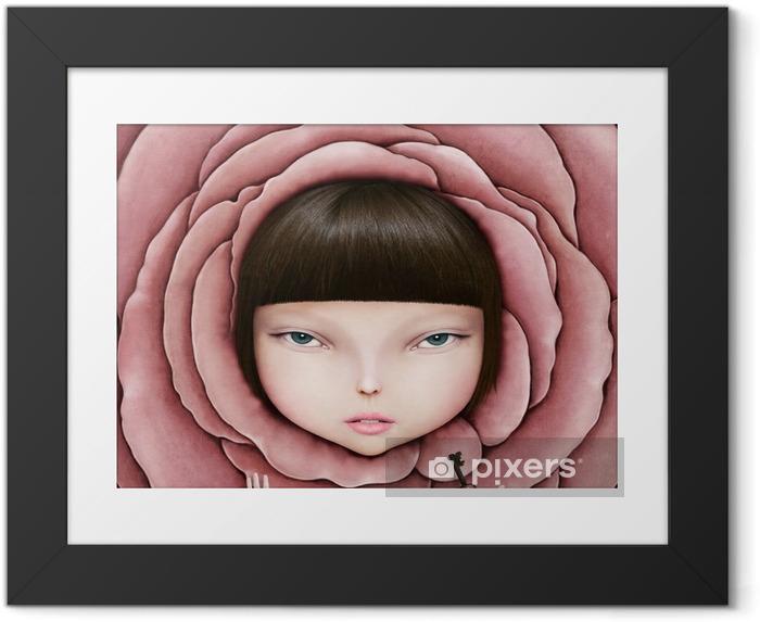 Ingelijste Afbeelding Conceptuele illustratie of poster met het hoofd van het meisje in roze bloemblaadje met de sleutel in zijn hand. - Hobby's en Vrije tijd