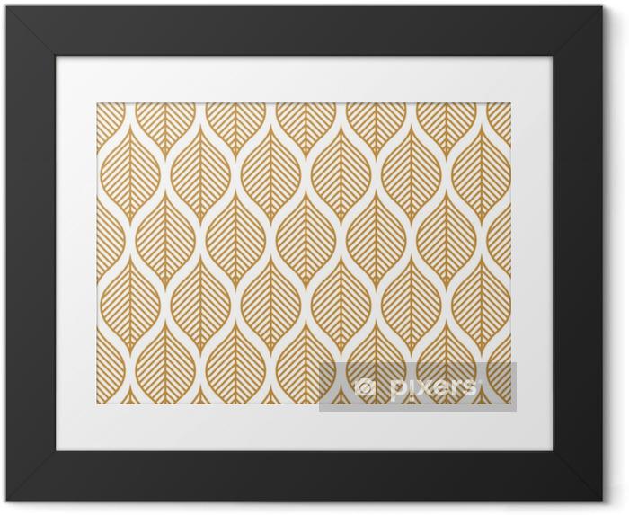Ingelijste Afbeelding Vector geometrische blad naadloze patroon. abstracte bladeren textuur. - Grafische Bronnen