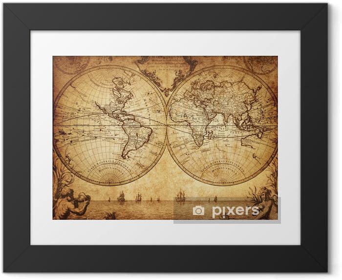 Ingelijste Afbeelding Vintage kaart van de wereld 1733 - Thema's