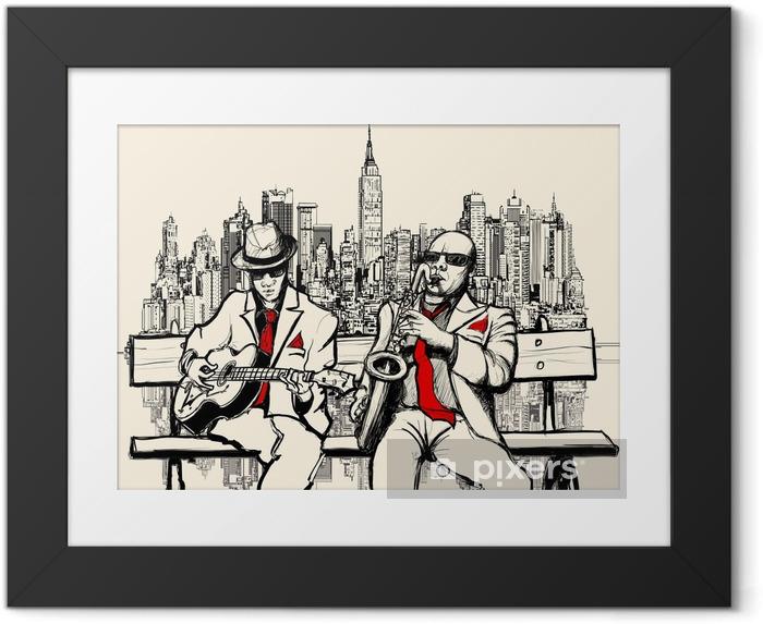Ingelijste Afbeelding Twee jazz mannen spelen in New York - jazz