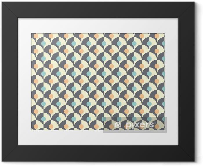Lámina Enmarcada Seamless patrón geométrico retro simple de estilo clásico - Fondos