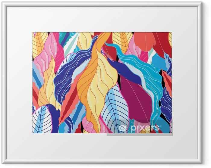 Ingelijste Afbeelding Naadloze patroon met bladeren. - Bloemen en Planten