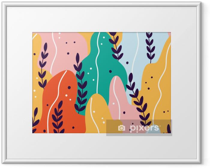 Obrazek w ramie Kolorowy egzotyczny wzór z gałęzi i liści - Rośliny i kwiaty