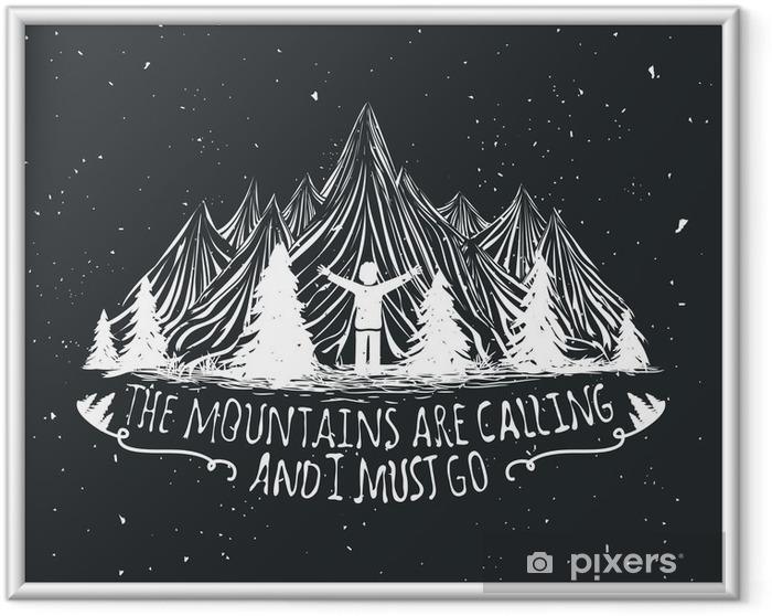 Image encadrée Affiche de citation Vecteur sauvage avec l'homme silhouette, montagnes et de la forêt - Paysages