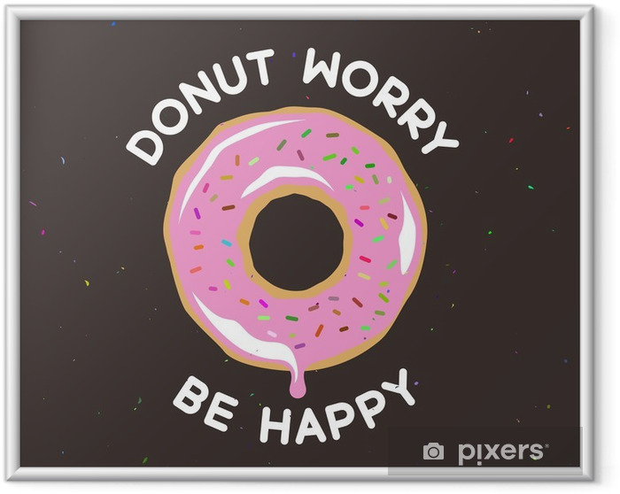 Ingelijste Afbeelding Donut maken graag vintage poster. Vector illustratie. - Eten