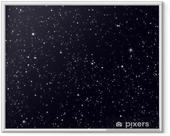 Ingelijste Afbeelding Ruimte met sterren vector achtergrond. Galaxy en planeten in de kosmos patroon - Grafische Bronnen