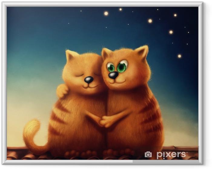 Gerahmtes Bild Rote Katzen in der Liebe - Tiere