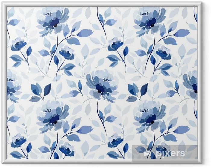 Ingelijste Afbeelding Patroon met blauwe bloem roos - Bloemen en Planten