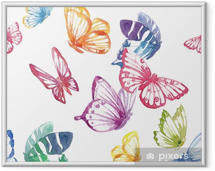 Obrazek w ramie Akwarela motyl wektor wzór - Zwierzęta