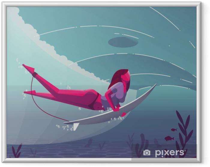 Obrazek w ramie Dziewczyna surfowania - Sport