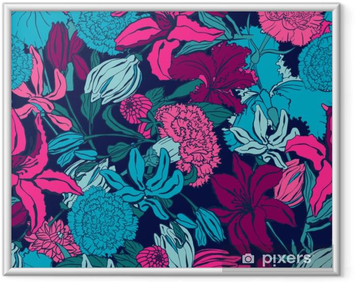 Obrazek w ramie Wzór z lilii, ylang, róże, kwiaty goździka. kolorowa wektorowa ilustracja. drukuj na tekstylia domowe i odzież, tkaniny, tekstylia - Zasoby graficzne