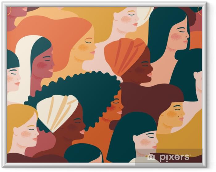 Obrazek w ramie Międzynarodowy Dzień Kobiet. wektor wzór z kobietami różnych narodowości i kultur. - Ludzie