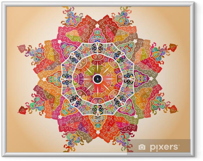 Ingelijste Afbeelding Oosterse mandala motief -
