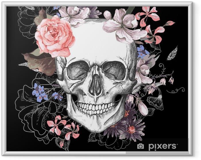 Obrazek w ramie Czaszki i kwiaty dzień żyje - Koncepcja