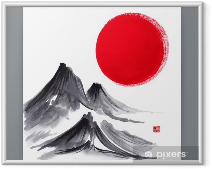 Obrazek w ramie Piękna ilustracja z japońskimi motywami naturalnymi. Sumi-e. ręcznie rysowane ilustracji - Krajobrazy