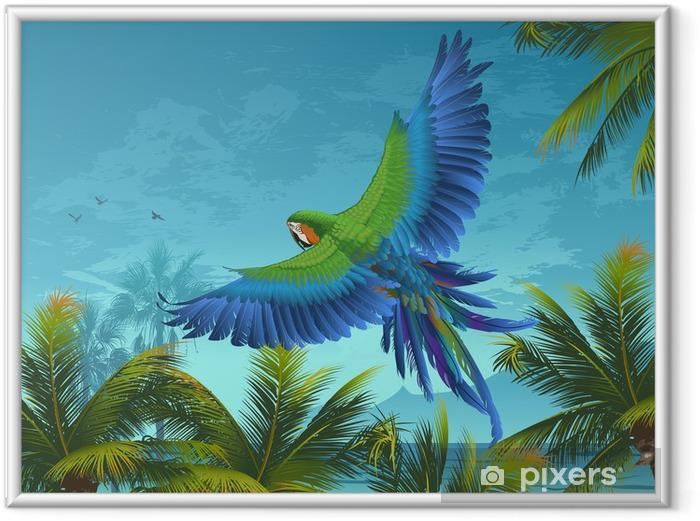 Ingelijste Afbeelding Amazon. Tropische achtergrond met papegaaien en palmbomen. - Thema's