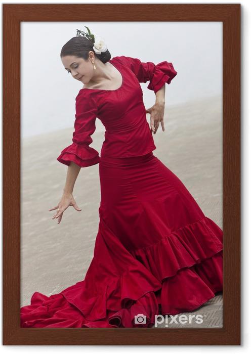 Image Encadree Traditionnel Femme Danseur Espagnol De Flamenco Dans