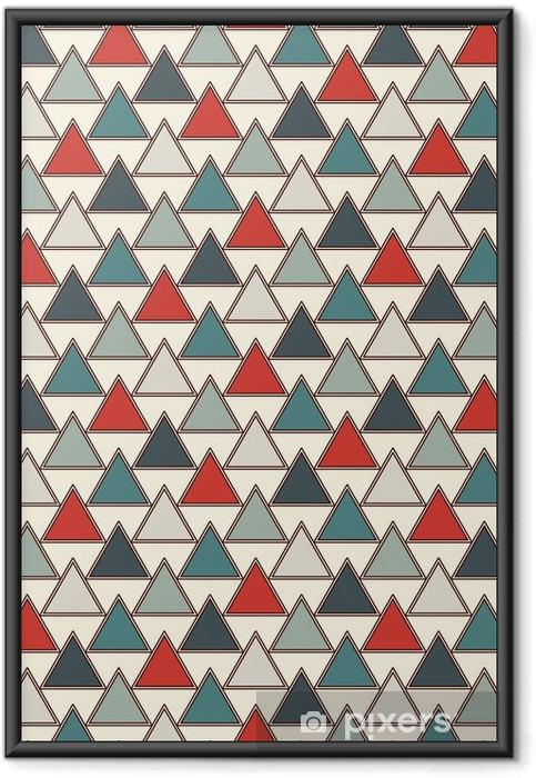 Ingelijste Afbeelding Herhaalde driehoeken achtergrond. eenvoudig abstract behang met geometrische figuren. naadloos oppervlaktepatroon - Grafische Bronnen