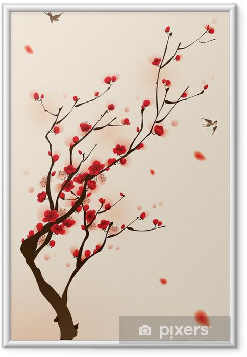 Ingelijste Afbeelding Oosterse stijl schilderen, pruim bloesem in het voorjaar -