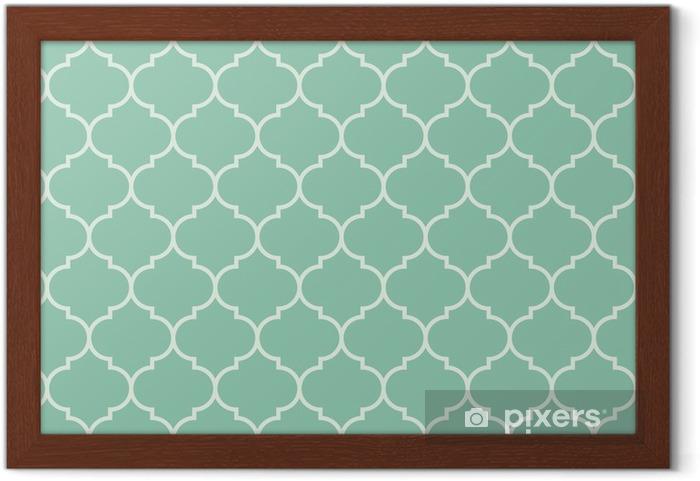 Lámina Enmarcada Sin fisuras vector patrón de color turquesa amplia marroquí -