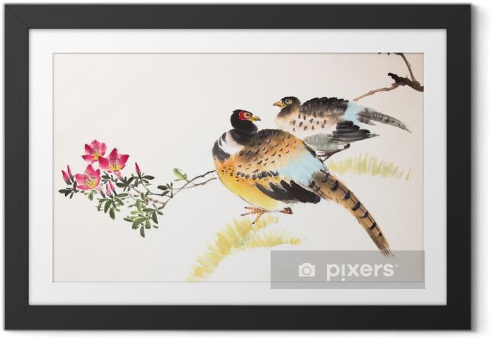 Ingelijste Afbeelding Chinese inkt schilderij vogel en planten - Dieren