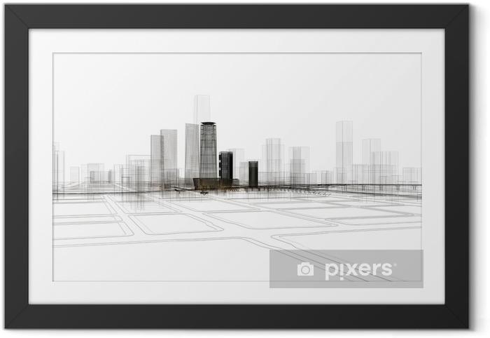 Obrazek w ramie Città grattacieli illustrazione renderingu 3d - Nauka