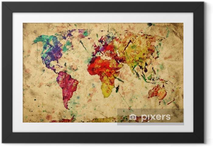 Lámina Enmarcada Mapa del mundo del vintage. Colorido de la pintura, acuarela sobre papel grunge -
