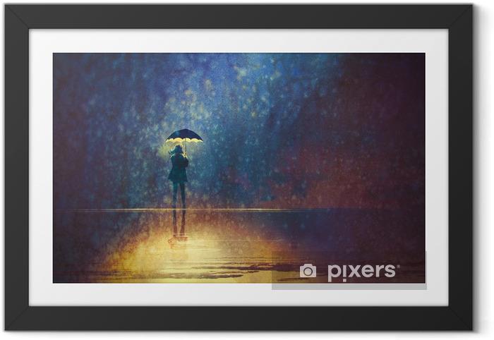 Gerahmtes Bild Einsame Frau unter Dach Lichter in der Dunkelheit, digitale Malerei - Hobbys und Freizeit