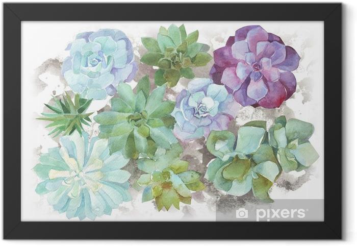 Gerahmtes Bild Aquarell Blumen Sukkulenten - Pflanzen und Blumen