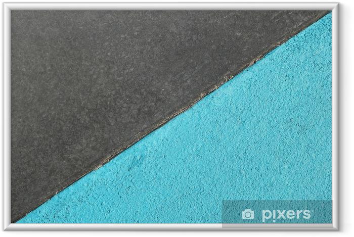 Lámina Enmarcada Superficie texturizada azul y gris del asfalto para el fondo abstracto, visión superior. - Recursos gráficos