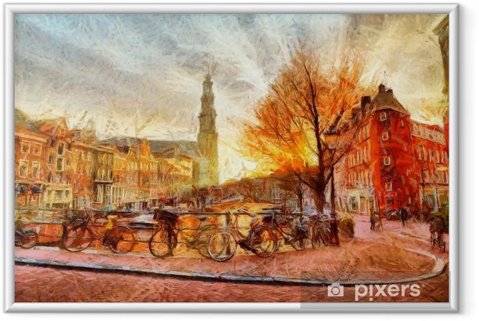 Gerahmtes Bild Amsterdam-Kanal am Abend impressionistischen Malerei - Landschaften