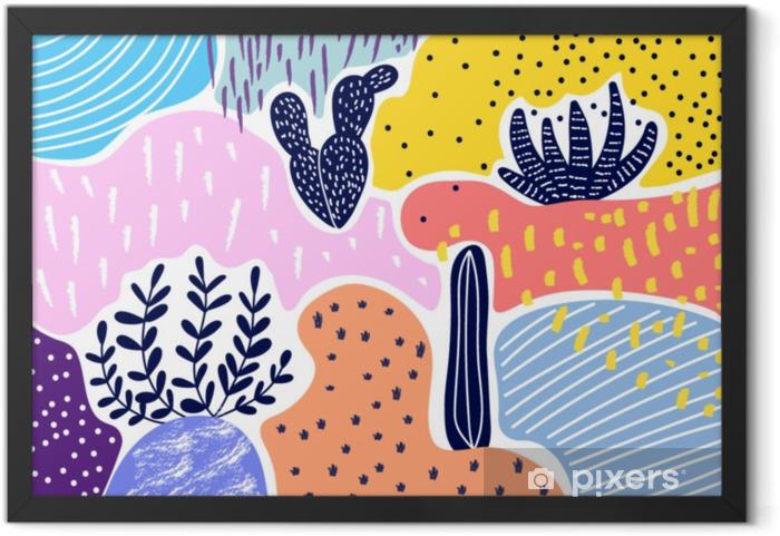 Obrazek w ramie Twórczy geometryczne kolorowe tło z wzorami. kolaż. projekt do wydruków, plakatów, kart itp wektor. - Zasoby graficzne