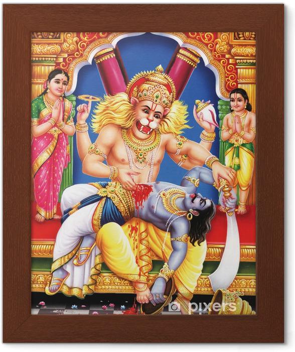 Póster Enmarcado Indian altar dios narshingh en su vista completa - Construcciones públicas