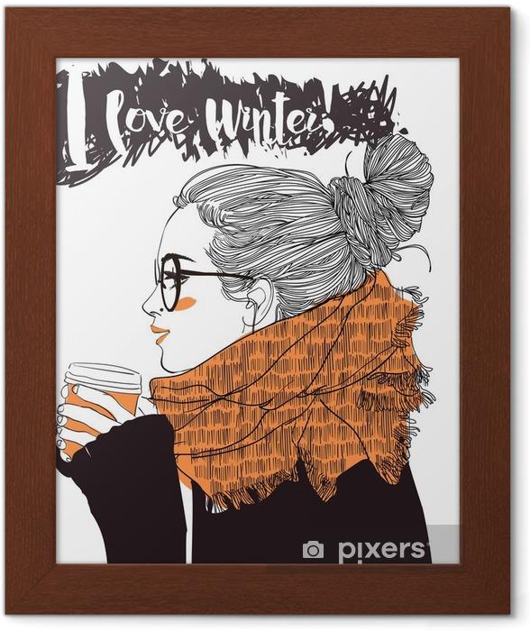 Poster en cadre Belle jeune femme avec tasse de café - Personnes