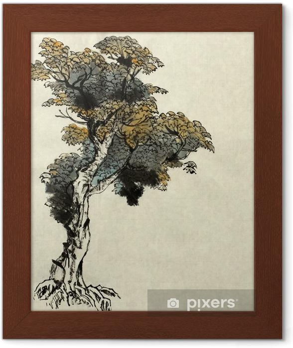 Plakat w ramie Przykład rysowania drzewa - Rośliny i kwiaty