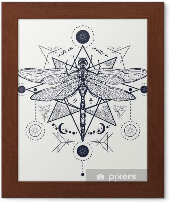 Yusufçuk Dövme Elle çizilmiş Mistik Semboller Ve Böcekler çerçeveli