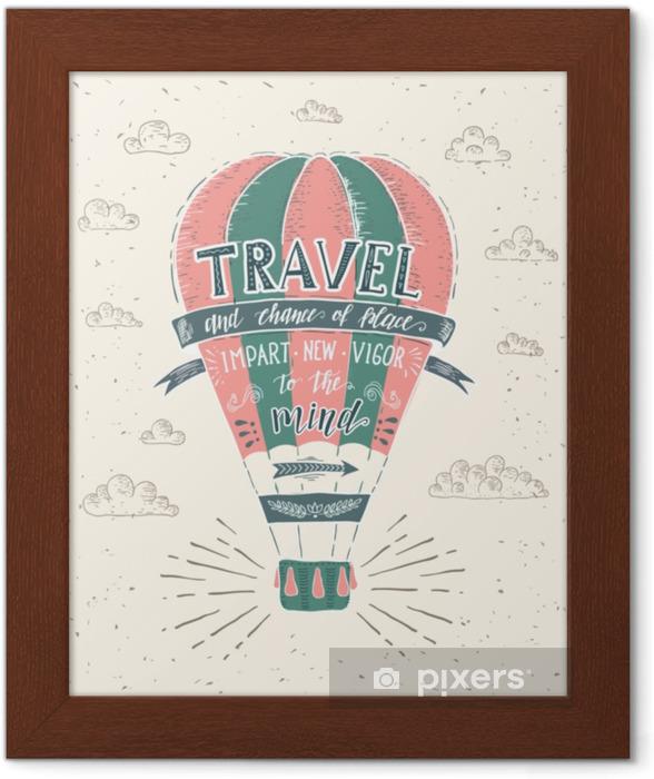 Póster Enmarcado Viaje. vector dibujado a mano ilustración para camiseta de impresión o cartel con cita de letras a mano. - Transportes