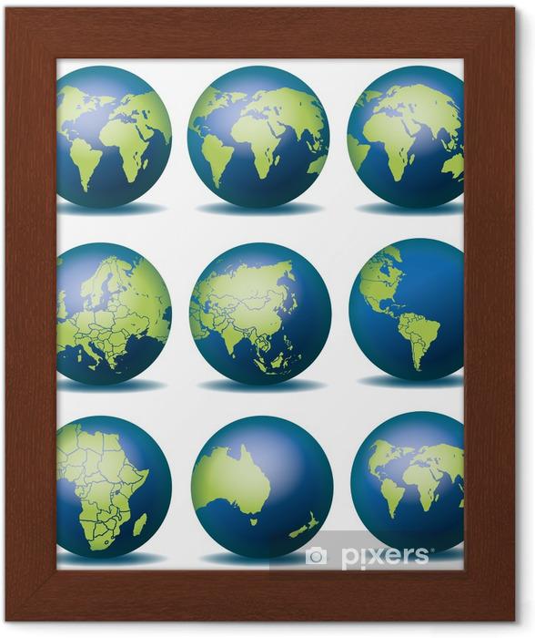 Globus Weltkugel Karte.Gerahmtes Poster Weltkugel Weltkarte Landkarte Globus Karte 4