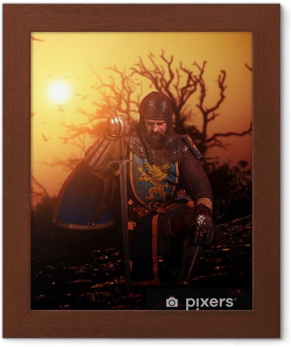 Poster i Ram Medeltida riddare på hans knä. - Riddare